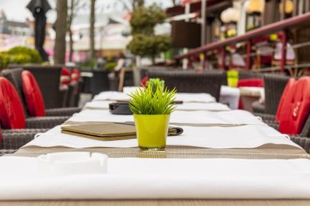 Brugge, Belgium - street restaurant table. photo