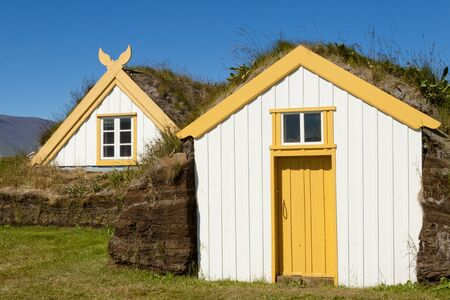Typical mossy roof - Glaumber icelandic farm. Stock Photo - 19708331