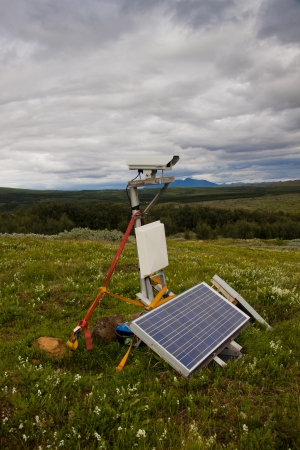 Security camera with solar in nature - Iceland Stock Photo - 19708393