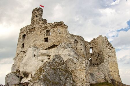 mirow: View on old castle in Mirow - Poland, Silesia. Stock Photo