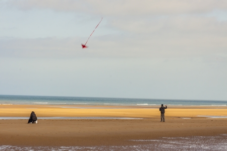 omaha: Golden sandy Omaha beach in Normandy, France  Stock Photo
