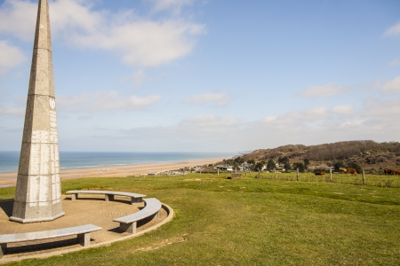 The 1st infantry division monument near Omaha Beach in  Normandy - France, Europe  photo