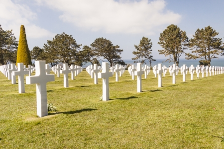 Graves on military cemetery  - Omaha Beach, Normandy France  photo