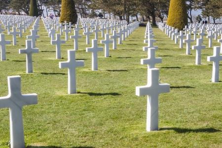 allied: Graves on military cemetery  - Omaha Beach, Normandy France.