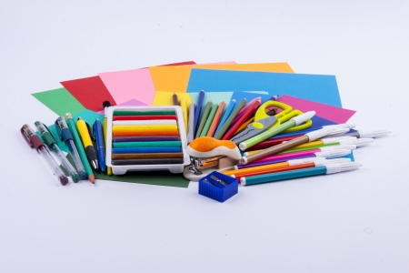 School equipment set on white background. photo