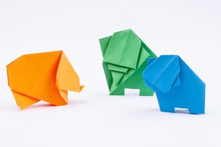 Origami elephants - white background