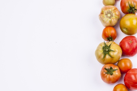 Red tomatoes on white background. Stock Photo