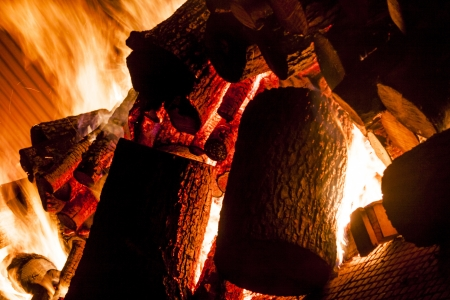 Fire from wood in industrial stove - Poland. 写真素材