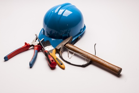 Workers tools on white background. photo