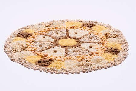 Food Mandala wheel on white nackground  photo