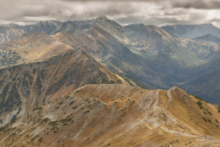 View from Malolaczniak - Tatras Mountains  Autumn cloudy day  photo