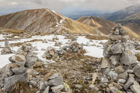 Rocks tower on Malolaczniak top - Tatras Mountains  Autumn day  photo