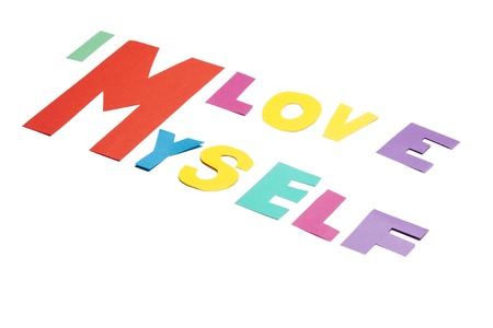 I love myself - text on white photo