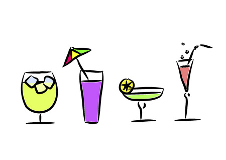 frozen glass: Different cocktails - vector illustration