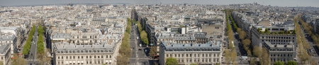 archtecture: Panoramic view on Paris from Arc de Triomphe. Stock Photo