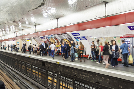 PARIS, FRANCE -  APRIL 25 Paris Metro station  Chatelet  on april 25, 2013 in Paris  Paris Metro is the 2nd largest underground system worldwide by number of stations  300