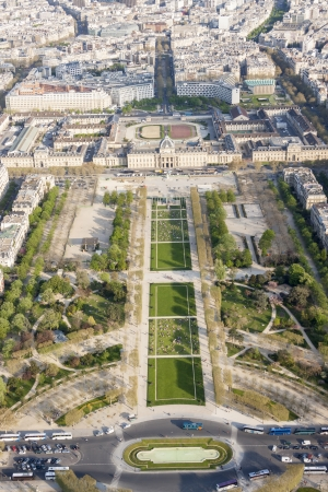 Aerial view from Eiffel Tower on Champ de Mars - Paris, France. photo