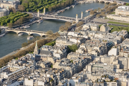 Aerial view from Eiffel Tower on Seine River - Paris, France. photo