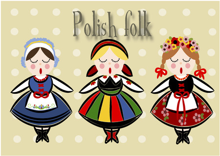 Traditional Polish Costume - Vector illustration.