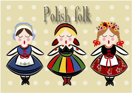 Traditional Polish Costume - Vector illustration.