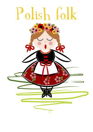 Costume traditionnel polonais (Cracovie) - illustration vectorielle.