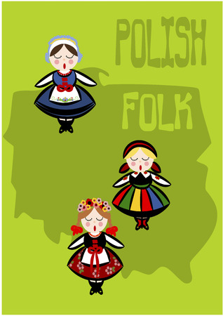 Polish folk - country shape. Vector illustration. Vector