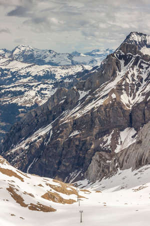 saanenland: Ski area Glacier De Diablerets - Switzerland. Stock Photo