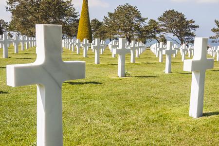 omaha: Graves on military cemetery  - Omaha Beach, Normandy France.