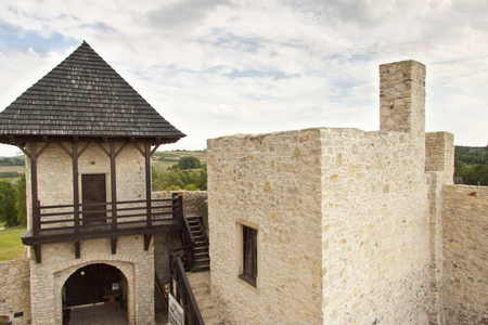 bobolice: View on gate and wall to Bobolice Castle - Poland. Editorial