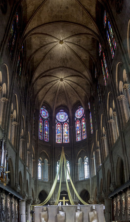 PARIS, FRANCE -  APRIL 26: Interior of the Notre Dame de Paris on april 26, 2013 in Paris.The cathedral of Notre Dame is one of the top tourist destinations in Paris