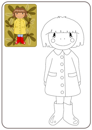Coloring book with gril in red wellingtons - vector illustration. Vector