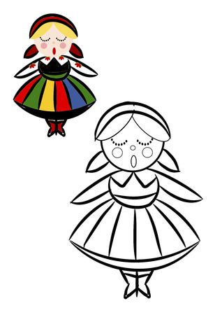 Coloring book with women in Polish National ethnic costume - vector illustration.