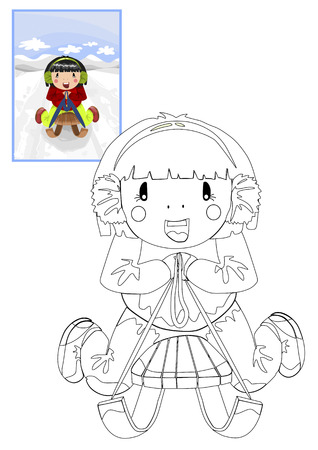 Coloring book with girl on the sled - vector illustration. Vector