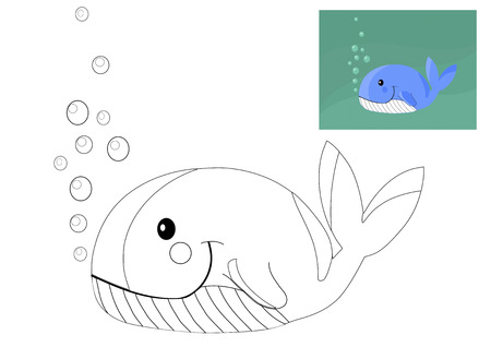 Coloring book with whale - vector illustration. Vector