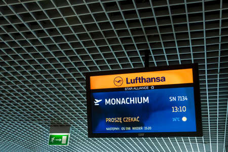 cracow: CRACOW, POLAND -  NOVEMBER 2:Lufthansa information monitor at Cracow International Airport on November 2, 2014 in Cracow.