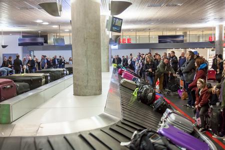 OSLO GARDERMOEN, NORWAY -  NOVEMBER 2:Interior of Oslo Gardermoen International Airport on november 2, 2014 in Oslo. The airport has biggest passenger flow in Norway.