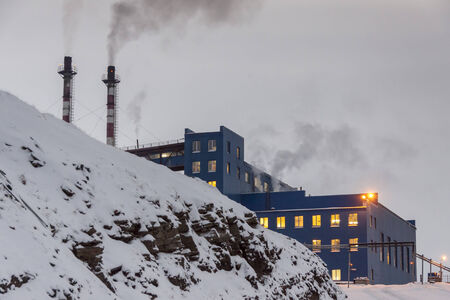polar station: Power station in Barentsburg - Russian village on Spitsbergen, Norway. Editorial