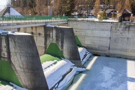 water power: Dam on Czorsztynski lake. Czorsztyn, Poland, Europe.
