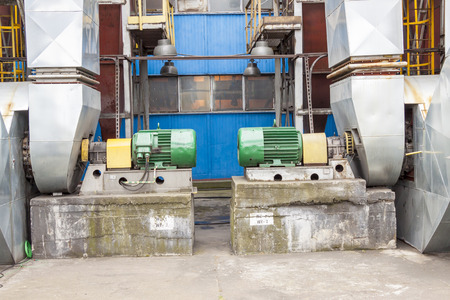energy channels: Industrial fumes ventilators system - Poland. Stock Photo