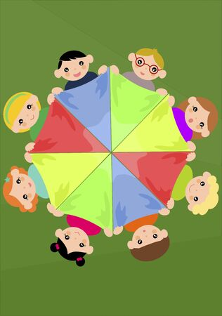 linked hands: Children holding colourful scarf in a circle - Vector