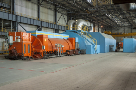 Steam turbine - coal power station. Europe. Editorial