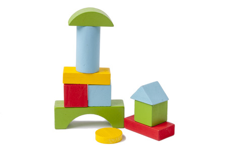 building color: Colorful wooden blocks toy - white background.