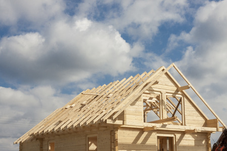 unfinished: Unfinished roof in wooden home. Stock Photo