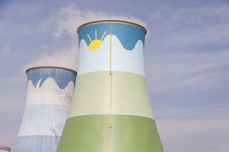 thermal pollution: Cooling towers - coal power station in Opole, Poland.