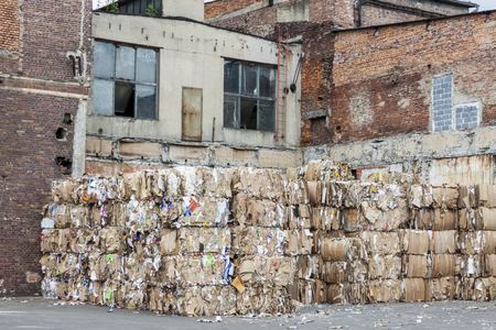 wastepaper: Exterior of old paper mill in Poland.