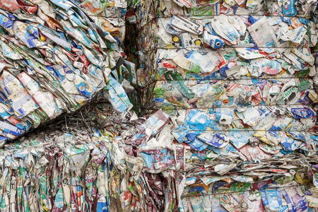 Detail of waste paper recycling. Stock Photo