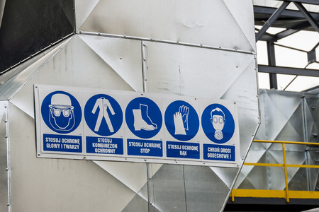 Five industrial safety pictogram with polish description.