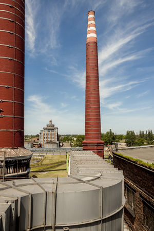 exhaust system: Fumes channel - coal power station of  sugar refinery , Poland