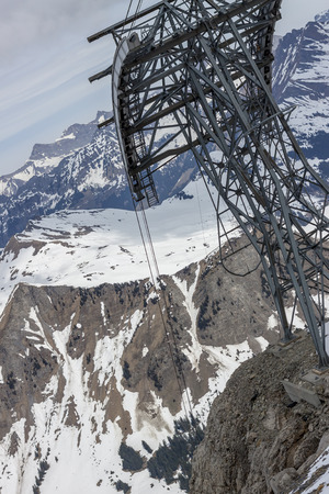 ski lift: Ski lift to area Glacier De Diablerets - Switzerland. Stock Photo