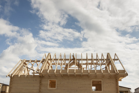 New wooden rafter framing